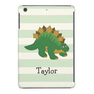 Stegosaurus on Pastel Green Stripes iPad Mini Retina Covers