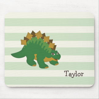 Stegosaurus on Pastel Green Stripes Mouse Pad