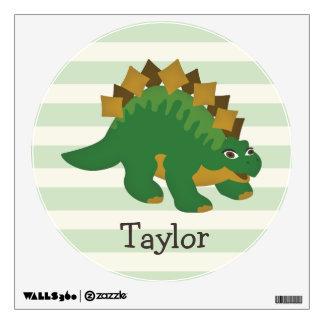 Stegosaurus on Pastel Green Stripes Wall Decor