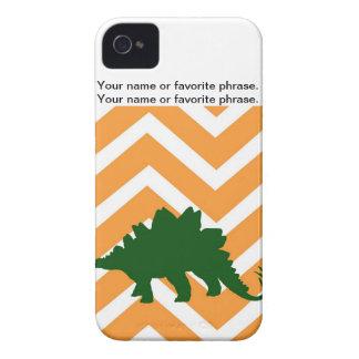Stegosaurus on zigzag chevron - orange and white. Case-Mate iPhone 4 cases