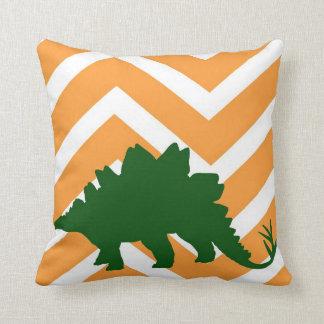 Stegosaurus on zigzag chevron - orange and white. pillow