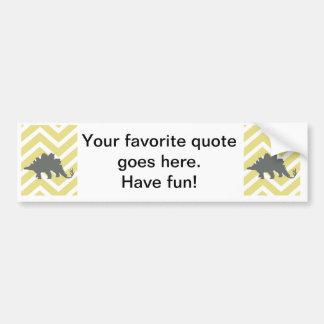 Stegosaurus on zigzag chevron - Yellow. Car Bumper Sticker