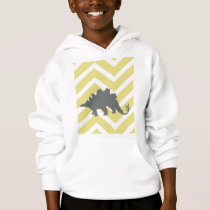 Stegosaurus on zigzag chevron - Yellow. Hoodie