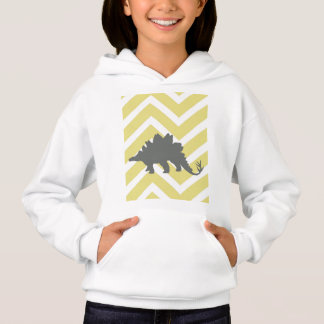Stegosaurus on zigzag chevron - Yellow. Hoodie