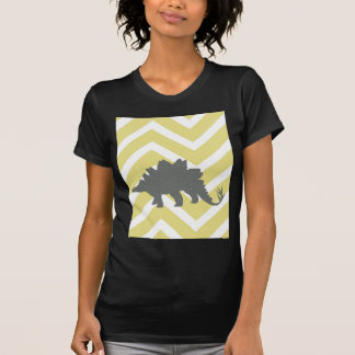 Stegosaurus on zigzag chevron - Yellow. T-Shirt