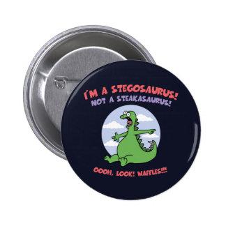 Stegosaurus - Waffles 2 Inch Round Button