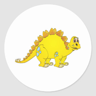 Stegosaurus Yellow Cartoon Classic Round Sticker