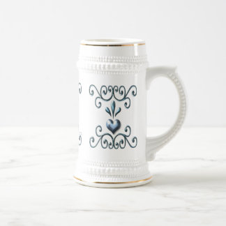 Stein azul suave enrollado de los corazones jarra de cerveza