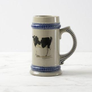 stein blanco y negro de la cerveza de la vaca taza de café