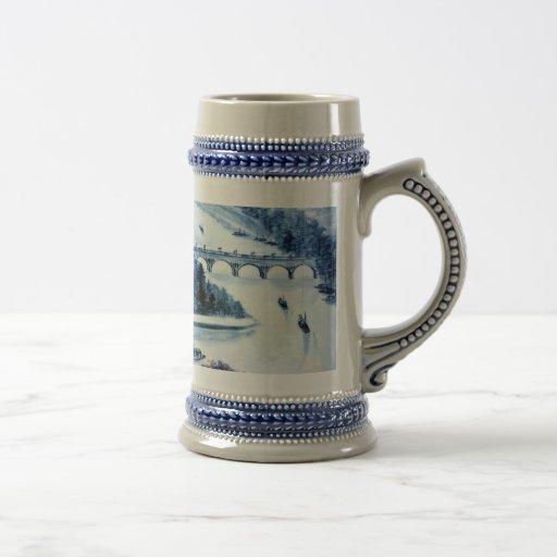 stein chino de la imagen de la porcelana del vinta jarra de cerveza