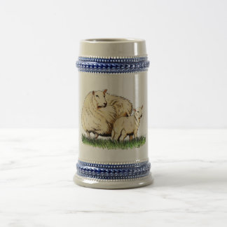 stein de la cerveza de dos ovejas taza
