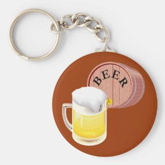 Stein del barrilete de cerveza y de la cerveza llavero redondo tipo pin