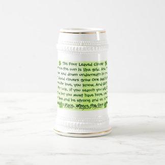 stein del trébol de cuatro hojas jarra de cerveza