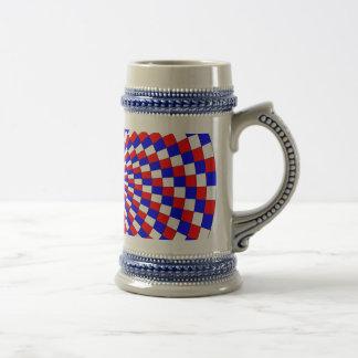 Stein espiral azul blanco rojo jarra de cerveza