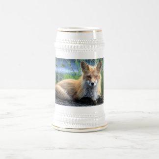 Stein hermoso del retrato de la foto del zorro jarra de cerveza