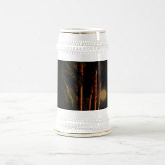 Stein iluminado por la luna de las palmeras jarra de cerveza