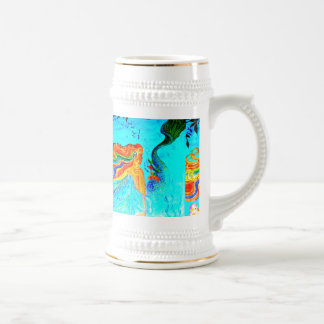 stein largo multicolor de la sirena del pelo jarra de cerveza
