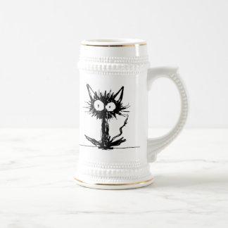 Stein negro de la cerveza del gatito jarra de cerveza