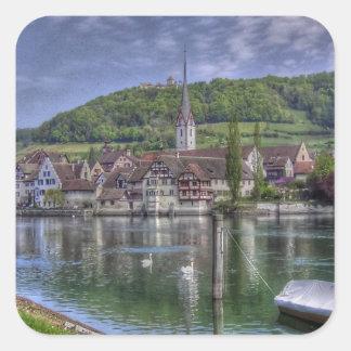Stein on the River Rhine Square Sticker
