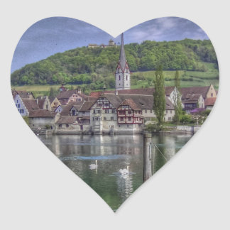 Stein on the River Rhine Heart Stickers