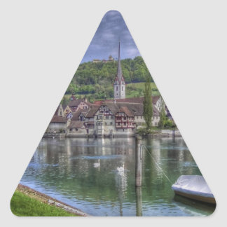 Stein on the River Rhine Triangle Stickers