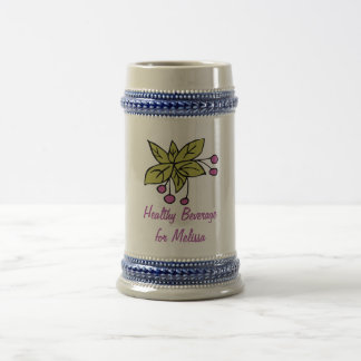 Stein with Berries and Name for 'Healthy Beverage' 18 Oz Beer Stein