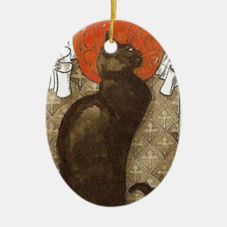 Steinlein's Cat - Art Nouveau Double-Sided Oval Ceramic Christmas Ornament