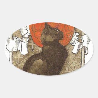 Steinlein's Cat - Art Nouveau Oval Sticker
