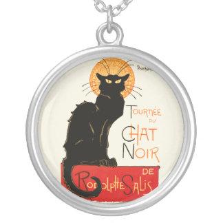 Steinlen Black Cat Round Pendant Necklace
