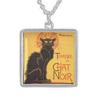 Steinlen: Chat Noir Square Pendant Necklace