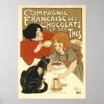 Steinlen - gatos: DES Chocolats de Compagnie Franc Póster