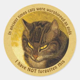 Steinlen Grumpy cat head quote Cat on a balustrade Classic Round Sticker