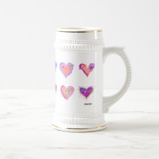 Steins, Frosted Mugs - Pop Art Crazy Hearts 2