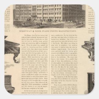 Steinway e hijos, piano Manufacutrers Pegatina Cuadrada