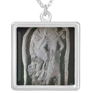 Stela depicting a ball player, from Guatemala Square Pendant Necklace