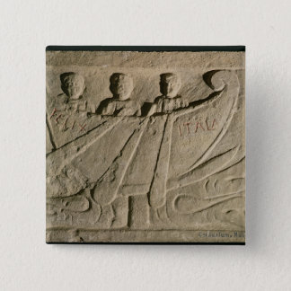 Stela depicting a rowing boat 'Felix Itala' Pinback Button