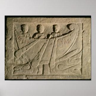 Stela depicting a rowing boat 'Felix Itala' Print