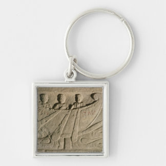 Stela depicting a rowing boat 'Felix Itala' Silver-Colored Square Keychain