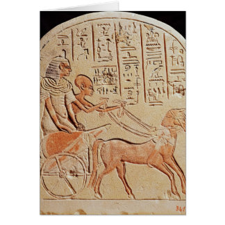 Stela depicting a scribe driving a chariot card
