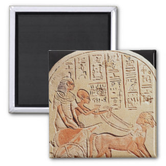Stela depicting a scribe driving a chariot 2 inch square magnet