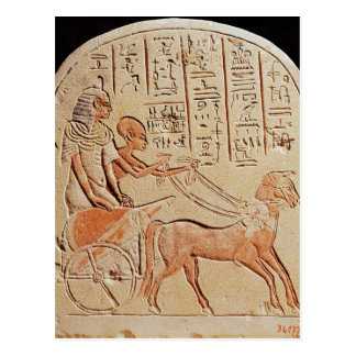 Stela depicting a scribe driving a chariot postcard