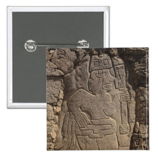Stela depicting a warrior holding a club 2 inch square button