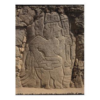 Stela depicting a warrior holding a club postcard