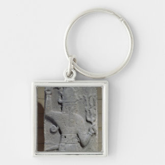 Stela of Teshub, Syrian storm god Silver-Colored Square Keychain