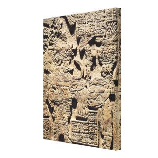 Stela que representa un alto sacerdote y a una muj impresión en tela