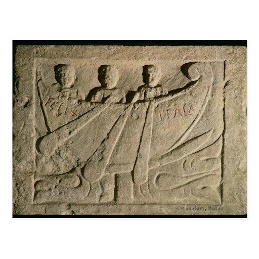 Stela que representa un barco de rowing 'Felix Ita Postal
