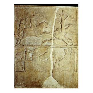 Stela relief depicting a wild boar hunt postcard