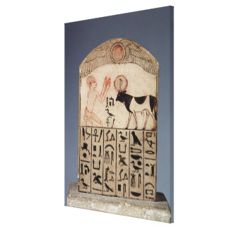 Stela to the Apis bull (painted limestone) Canvas Print