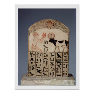 Stela to the Apis bull (painted limestone) Poster