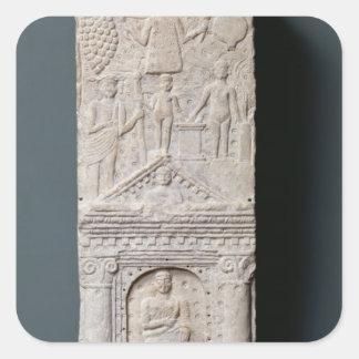 Stela votivo dedicado a Saturn Pegatina Cuadrada